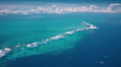 View of Cayo Largo island, Cuba, Caribbean sea from airplane - stock footage