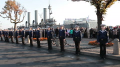 Cruiser Aurora mooring place, ship leaves it for repairs, Russia Stock Footage