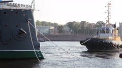 Bow of the Aurora cruiser with ropes, St. Petersburg, Russia Stock Footage