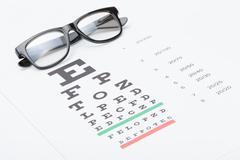 studio shot of eyesight test chart with glasses over it - stock photo