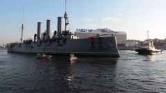 The Aurora cruiser pull-towing operation is on mooring place Stock Footage