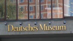 4K UHD Europe Germany Munich Deutsches Museum German Museum Logo Stock Footage
