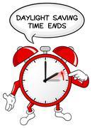 alarm clock change to standard time - stock illustration