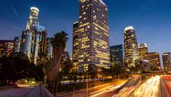 Freeway traffic downtown city Los Angeles night 4K Motion timelapse hyperlapse Stock Footage