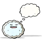 cartoon cloud with silver lining - stock illustration