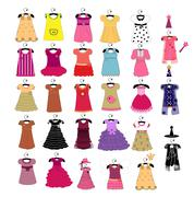 Fashionable beautiful clothes for little girls Stock Illustration