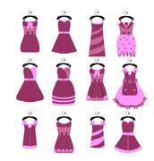Stock Illustration of vector collection of fashionable elegant dresses for girl