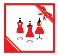 dresses on a mannequin - stock illustration