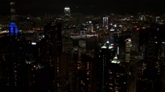 Timelapse aerial view Symphony Lights show Hong Kong Island night funny relax Stock Footage