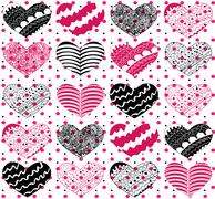 beautiful seamless vector pattern with hearts - stock illustration