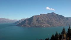 QUEENSTOWN LAKE MOUNTAINS SOUTH ISLAND NEW ZEALAND Stock Footage