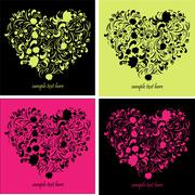 greeting cards with heart shape - stock illustration