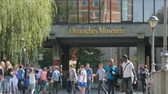 4K UHD Tourists n Students leaving Munich Deutsches Museum German Museum Germany Stock Footage