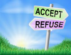 accept or refuse sign concept - stock illustration