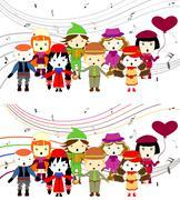 group of kids singing - stock illustration