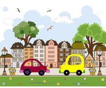 Car passing by in abstract city Stock Illustration