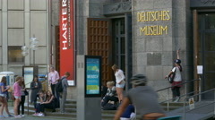 4K UHD Tourists n Students at entrance of Munich Deutsches Museum German Museum Stock Footage