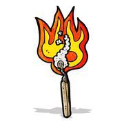 Stock Illustration of cartoon burning match