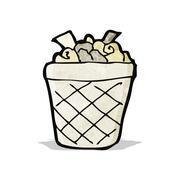 cartoon rubbish bin - stock illustration