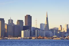USA, California, San Francisco, skyline with Transamerica Pyramid in morning Stock Photos