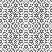 black and white star of david repeat pattern background - stock illustration