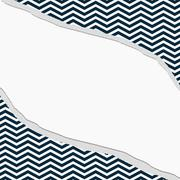 navy blue and white chevron frame with torn background - stock illustration