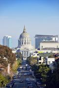 USA, California, San Francisco, view along Fulton Street to San Francisco City Stock Photos