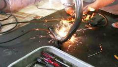 HD footage, Close up of Welder at work in factory - stock footage