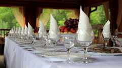 Beautifully served festive table.Buffet served in the restaurant. Stock Footage