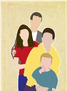 Family of four, illustration - stock illustration