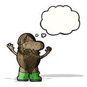 Cartoon nude hippie man Stock Illustration
