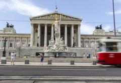 Austria, Vienna, view to parliament building with statue of goddess Pallas - stock photo