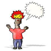 Stock Illustration of cartoon man with exploding head