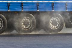 Stock Photo of Germany, Truck on rainy street, Aquaplaning