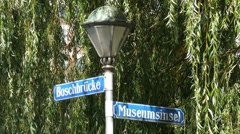 4K UHD Street sign of Museum island Munich Deutsches Museum German Museum Stock Footage