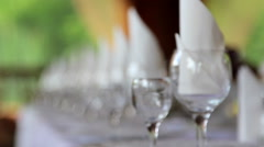 Served banquet table.Buffet served in the restaurant. Stock Footage