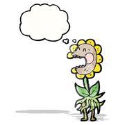 carnivorous plant cartoon - stock illustration
