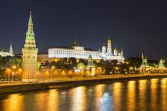 Stock Photo of Russia, Moscow, Kremlin, Ivan the Great Bell Tower with Cathedrals of the
