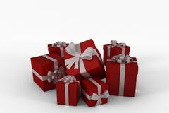 Stock Illustration of Red gifts with white bow