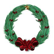 Digitally generated green christmas wreath - stock illustration