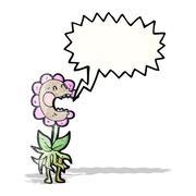 cartoon carnivorous flower - stock illustration