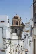 Spain, Andalusia, Tarifa, Old town, dome of a church Stock Photos