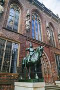 Germany, Bremen, equestrian statue at the town hall Stock Photos