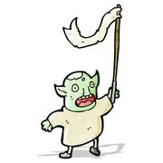 Cartoon goblin waving flag Stock Illustration