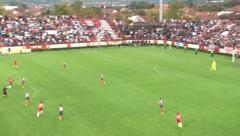32. Football fans cheering. Zoom out. Soccer game. Counterattack. Chance to goal Stock Footage