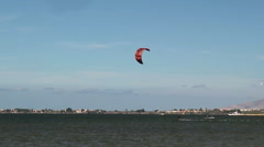 Kitesurfers and windsurfers in the Stagnone lagoon (Mozia). Stock Footage