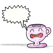 cartoon teacup with speech bubble - stock illustration