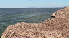 Mediterranean coast out of the dried seaweed. Stock Footage