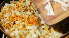 Cooking Chicken fried rice - stock footage