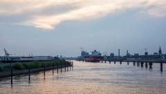 Hamburg skyline with harbor - view from the elbe bridge - DSLR hyperlapse Stock Footage